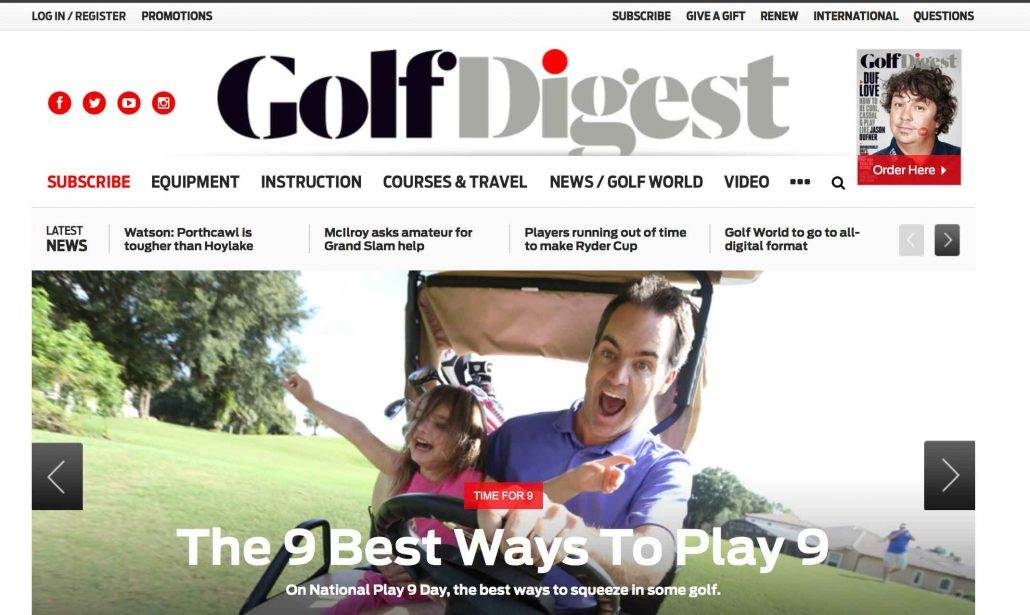 Casey on Golf Digest Homepage with daughter Julia