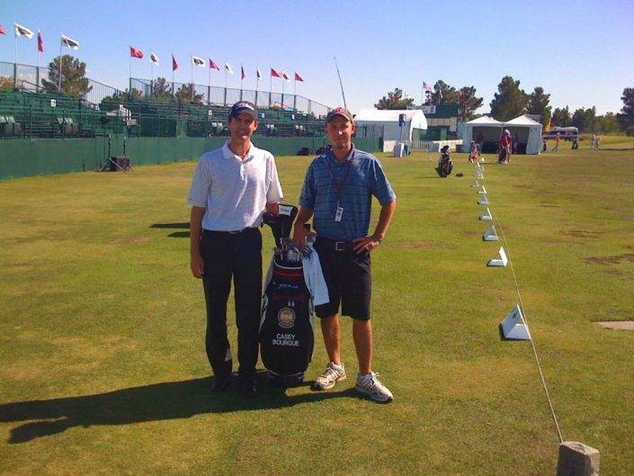Casey and caddie Garrett Copp in Las Vegas