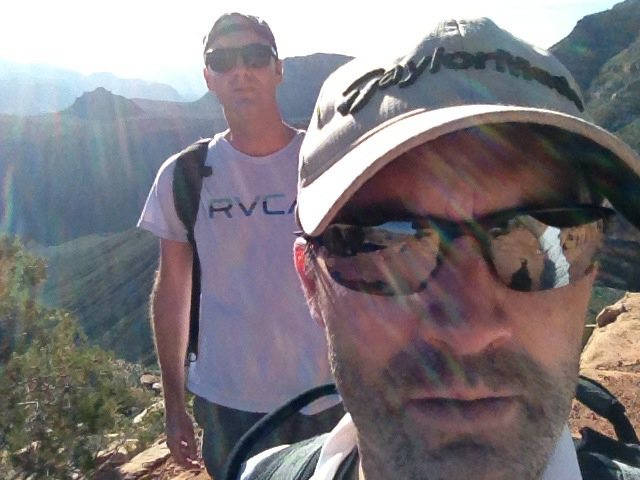 Casey and brother Jake hiking Grand Canyon