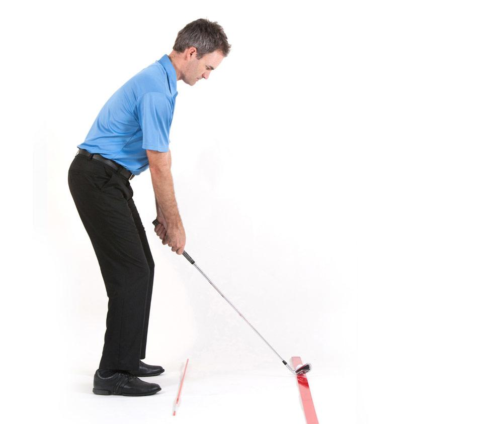 golf swing setup with middle irons