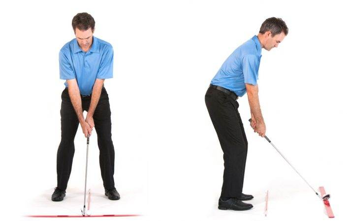 golf long iron setup and swing