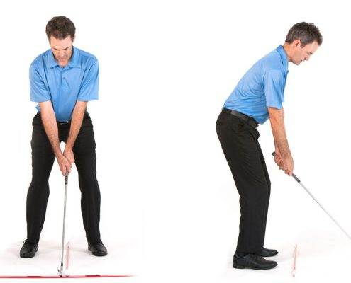 setting up to a golf shot