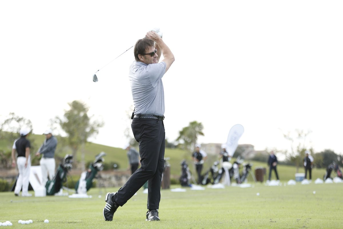 nick faldo giving a golf clinic